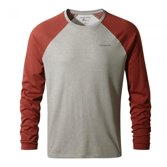 Insect Shield Bayame Long Sleeved Tee Soft Grey Red