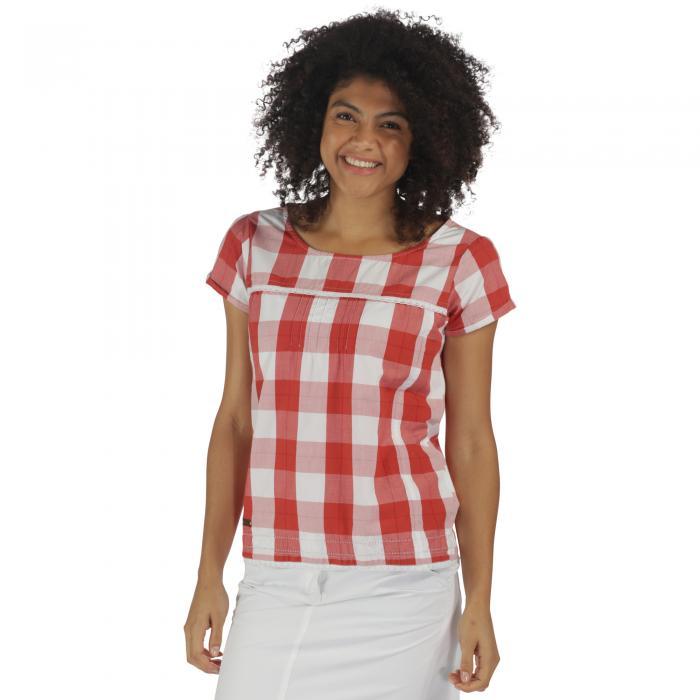 Feronia T-Shirt Coral Gingham