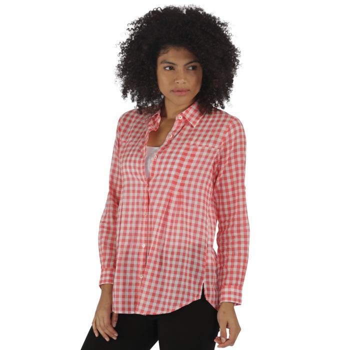 Mondara Shirt Coral Gingham