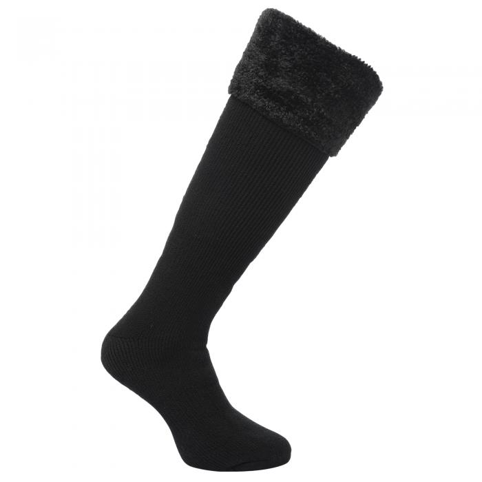Regatta Women's Fur Collar Wellington Sock - Black