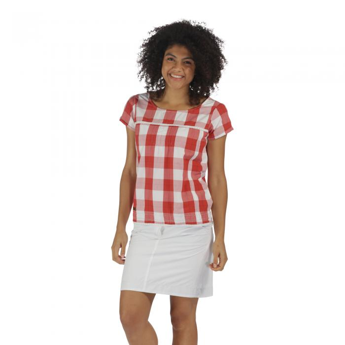 Feronia T-Shirt Coral Gingham