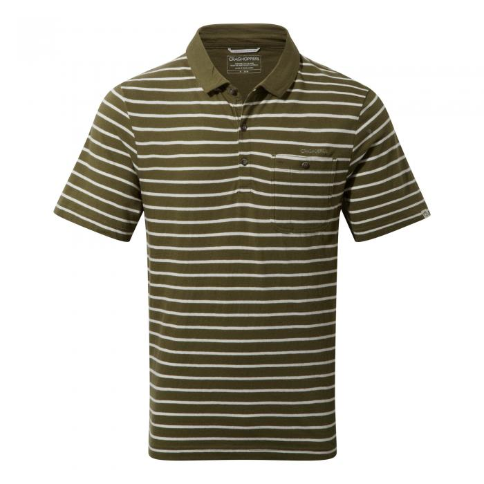 Fraser Short Sleeved Polo Dark Moss Combo