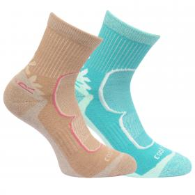 Regatta Womens 2 Pack Active Lifestyle Socks - Toffee Ceramic