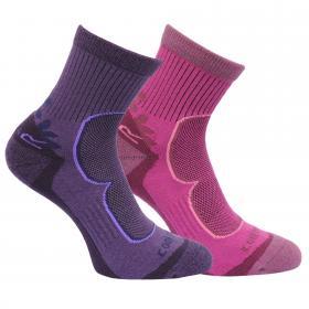 Regatta Womens 2 Pack Active Lifestyle Socks - Blackberry Viola