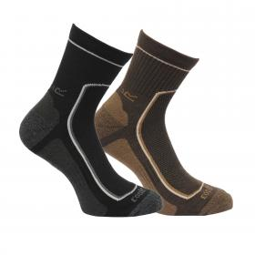 Regatta Mens 2 Pack Active Lifestyle Socks - Black Clove