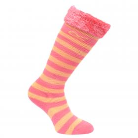 Regatta Kids Fur Collar Wellington Sock - Tulip Pink Lemon