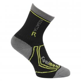 Regatta Kids 2 Season Coolmax Trek & Trail Sock - Black Oasis Green