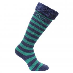 Regatta Kids Fur Collar Wellington Sock - Green Navy