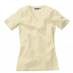 Ladies Short Sleeved V neck T-shirt - Bone