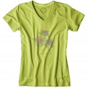 Life is Good Ladies Crusher T-Shirt - Chartreuse Green