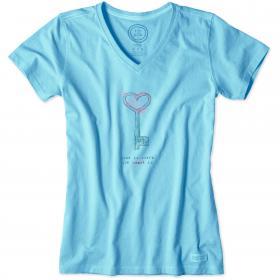 Life is Good - Ladies Crusher T-Shirt - Pool Blue