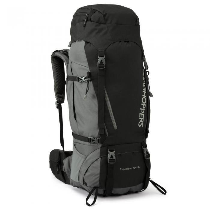 70L + 10L Hooded Rucksack Black