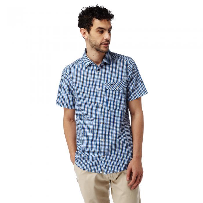 Warby Short Sleeved Shirt Deep Blue Combo