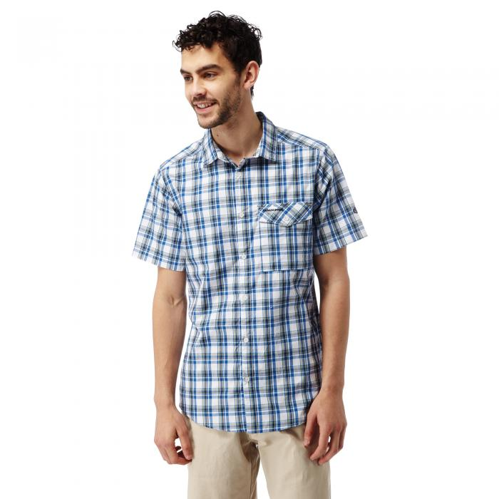 Walkton Short Sleeved Shirt Night Blue Combo