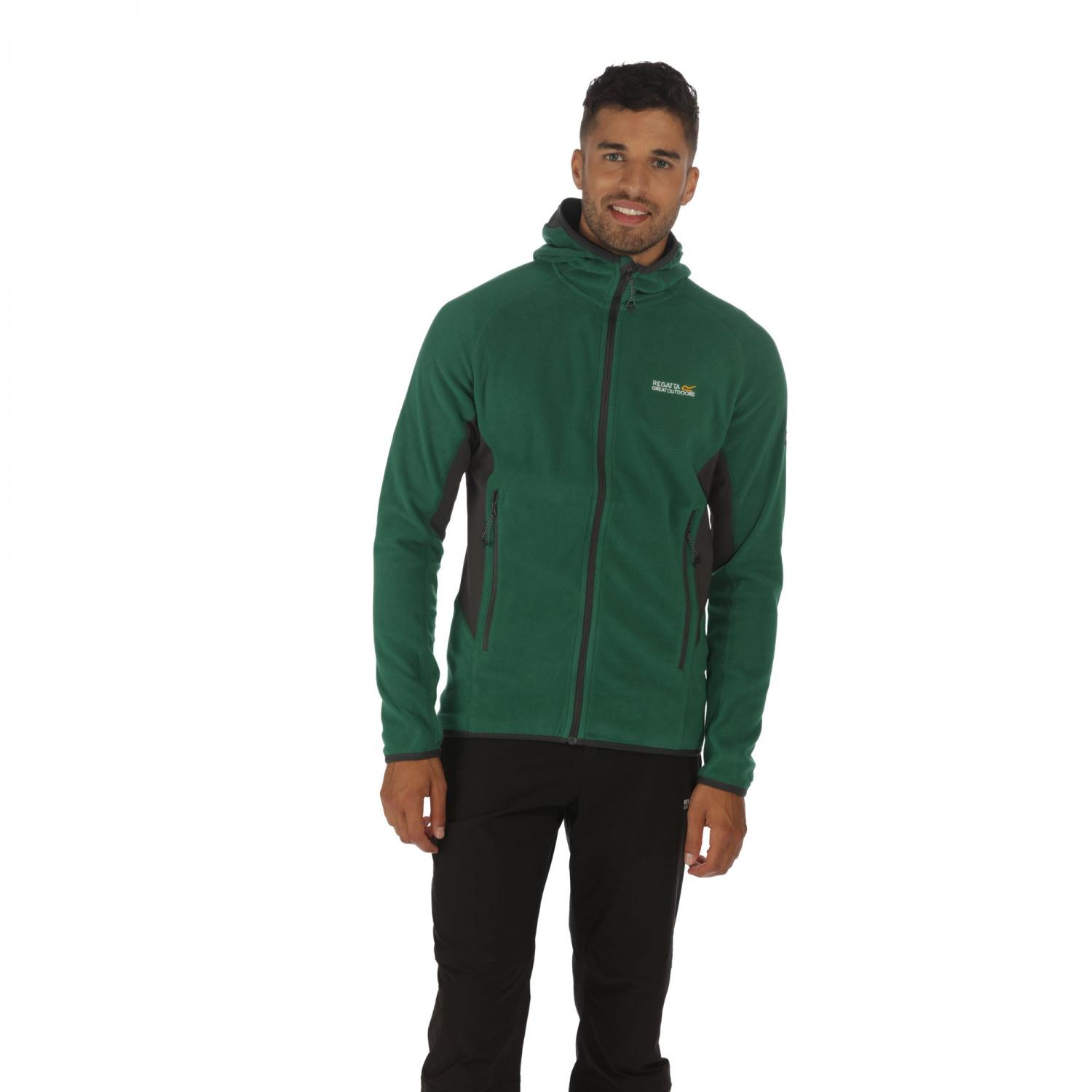 Addison III Hooded Fleece Hunter Green Grey