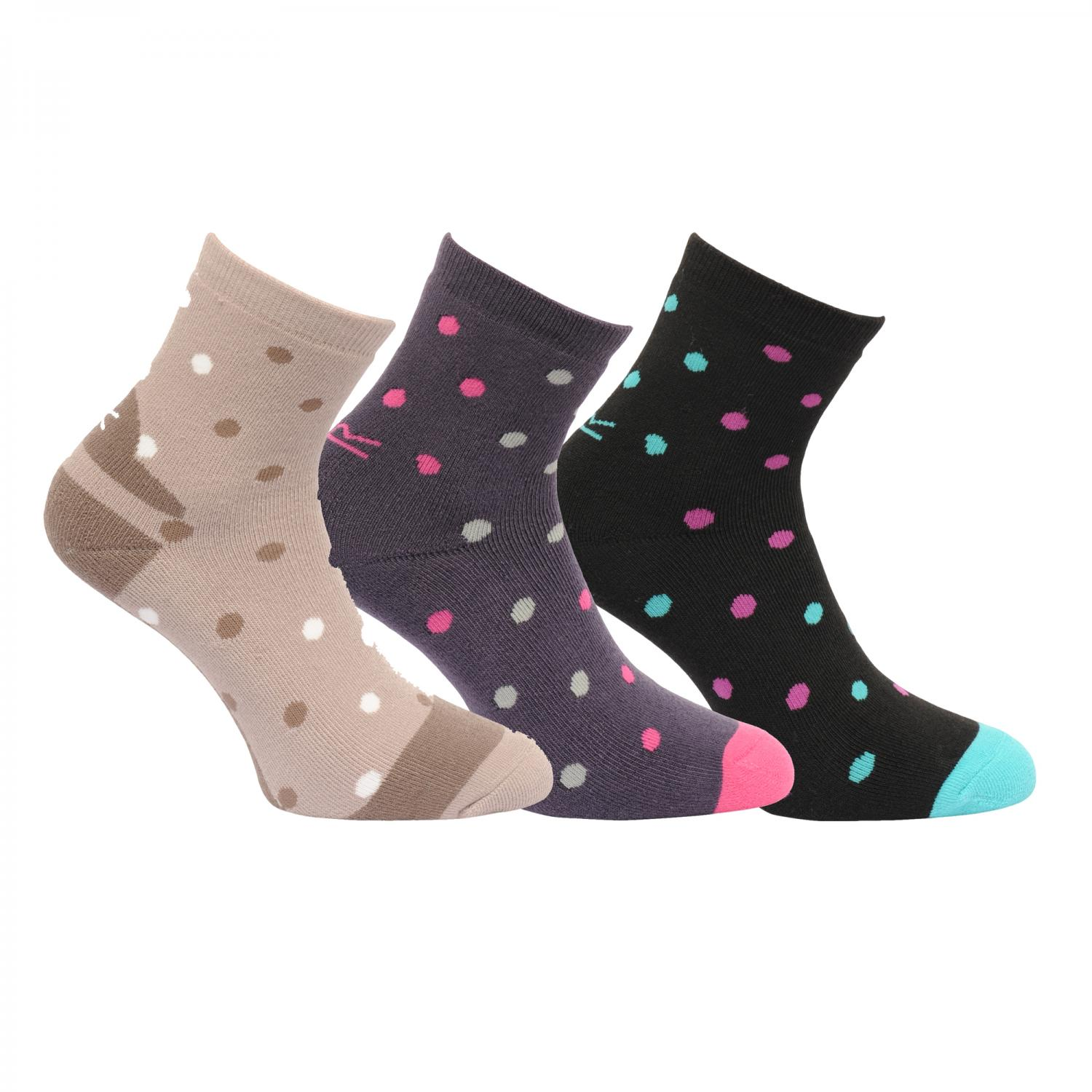 Womens 3 Pack Active Lifestyle Socks Barley Black Blue