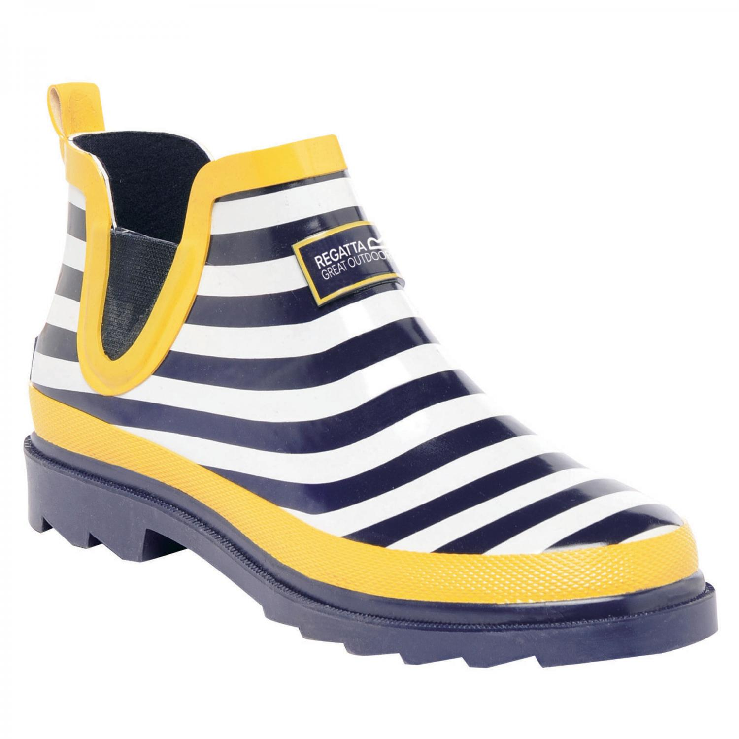 Lady Harper Low Wellington Boot Navy Lemon Tea