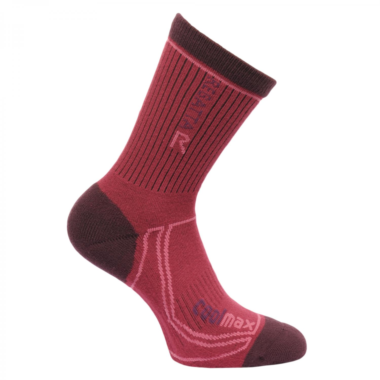Womens 2 Season Coolmax Trek & Trail Socks Dark Burgundy