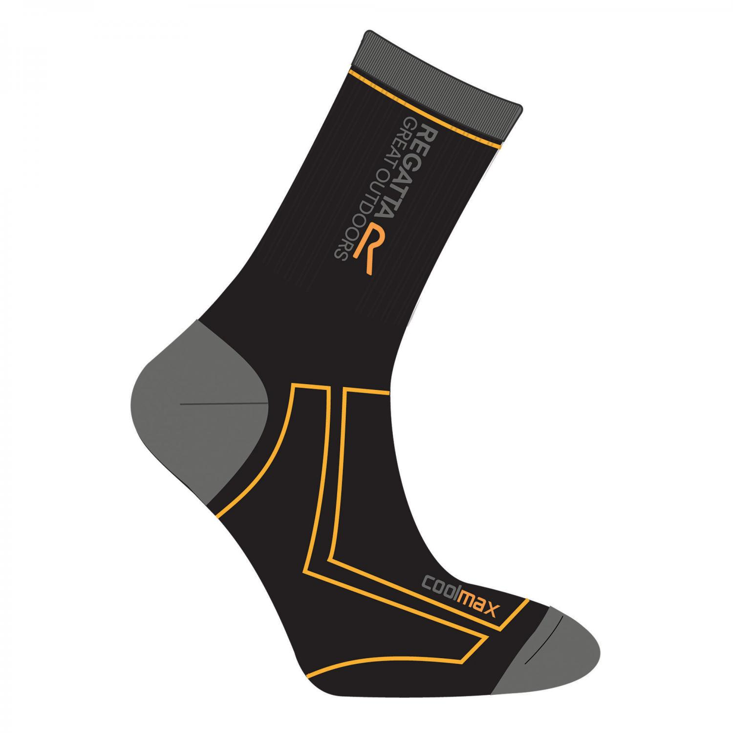Mens 2 Season Coomax Trek & Trail Sock Black GoldHeat